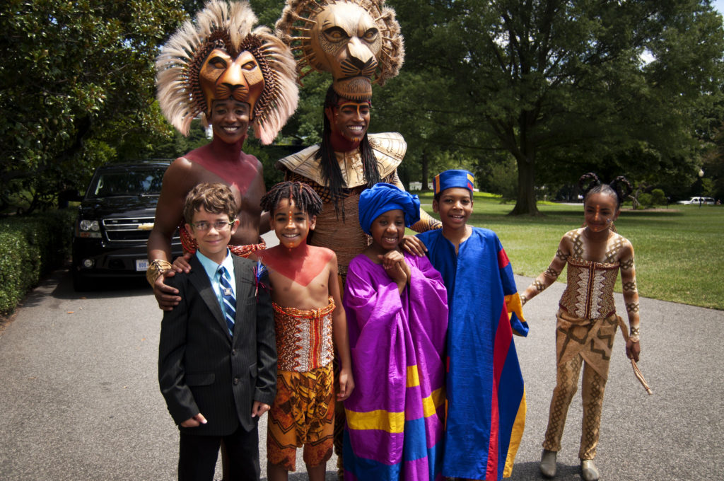 Braeden with Broadway Cast of The Lion King