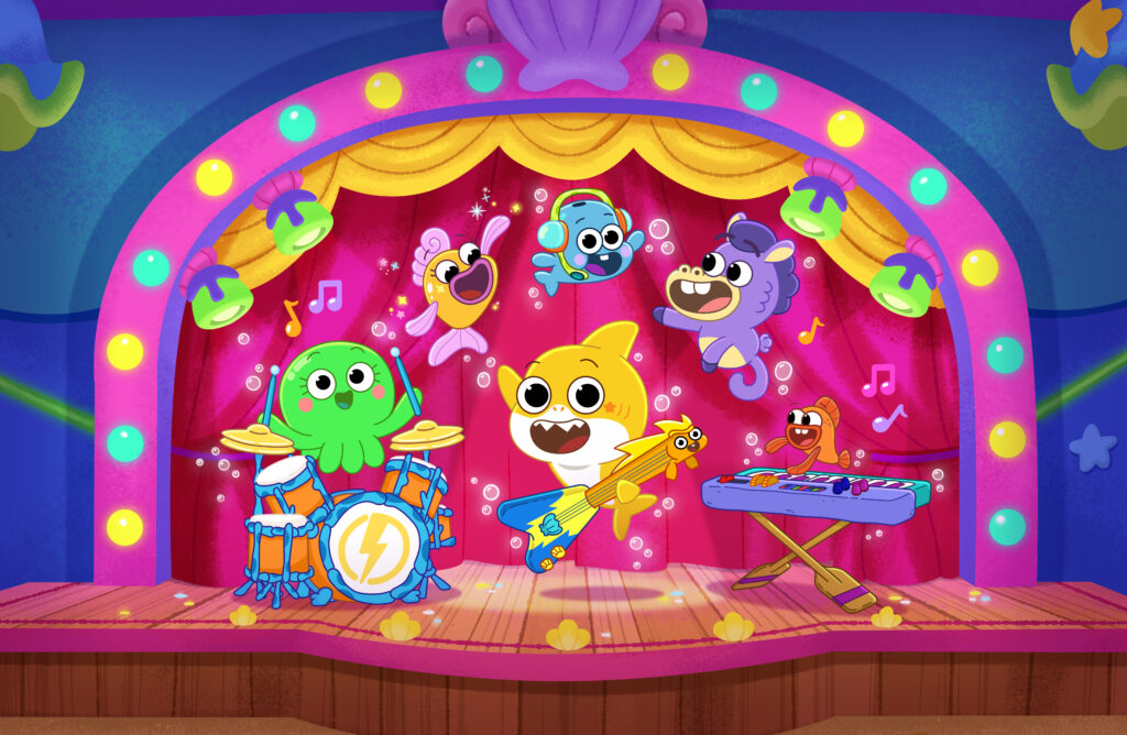 Baby Shark and Friends on the Big Show Stage playing music