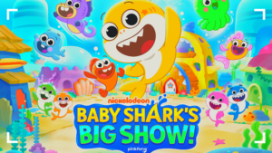 Nickelodeon Baby Shark Big Show Graphic with colorful animated shark cartoons