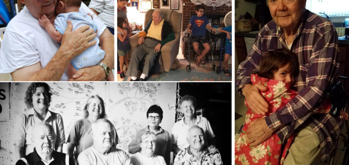 A collage with pictures of Grandpop Willey and his family